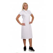 """Платье Поло женское """"Премиум"""" (белое, короткий рукав) Органический 100% хлопок"""