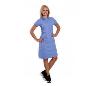 """Платье Поло женское """"Премиум"""" (голубое, короткий рукав) Органический 100% хлопок"""