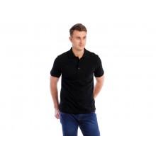 Рубашка Поло мужская (черная, короткий рукав) Органический 100% хлопок