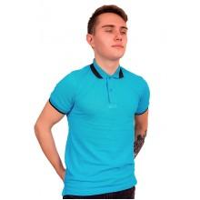"""Рубашка поло мужская """"Премиум"""" (голубая, короткий рукав) Органический 100% хлопок"""