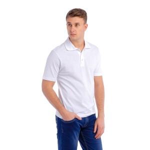 Рубашка Поло мужская (белая, короткий рукав) Органический 100% хлопок
