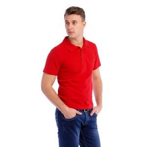 Рубашка поло мужская (красная, короткий рукав) Органический 100% хлопок