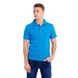 """Рубашка поло мужская """"Премиум"""" (голубая, короткий рукав)"""