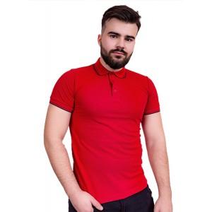 """Рубашка поло мужская """"Премиум"""" (красная, короткий рукав) Органический 100% хлопок"""