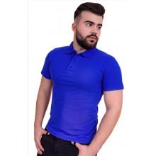 Рубашка поло мужская (синий рояль, короткий рукав) Органический 100% хлопок