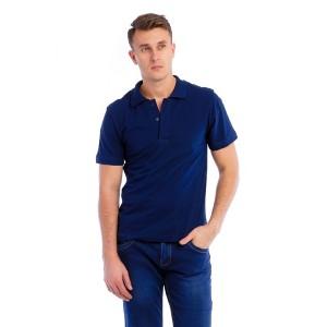 Рубашка поло мужская (темно-синяя, короткий рукав) Органический 100% хлопок