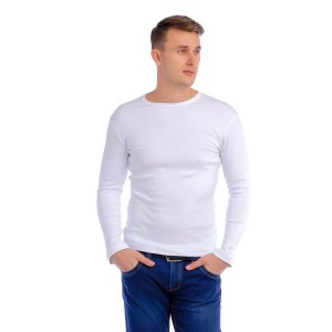 Мужская промо футболка 100% хлопок (белая, длинный рукав)