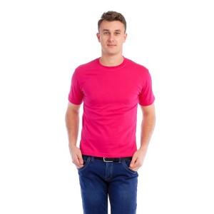Мужская промо футболка 100% хлопок (розовая, короткий рукав)