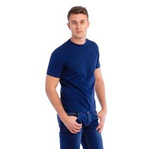 Мужская промо футболка 100% хлопок (темно-синяя, короткий рукав)