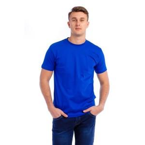 Мужская промо футболка 100% хлопок (ярко-синяя, короткий рукав)