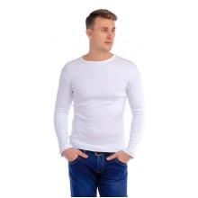 Мужская промо футболка Стандарт (белая, длинный рукав) Органический 100% хлопок
