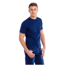 Мужская промо футболка Эконом (темно-синяя, короткий рукав) Органический 100% хлопок