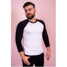 Мужская футболка реглан (черно-белая, длинный рукав) Органический 100% хлопок