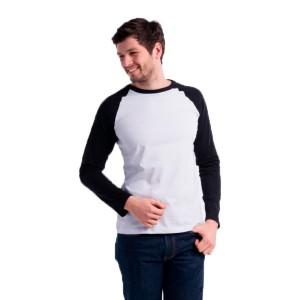 Мужская футболка реглан (черно-белая, длинный рукав)