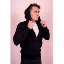 Мужская толстовка на молнии  (черная, с капюшоном) Органический 100% хлопок