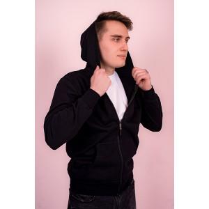Мужская толстовка на молнии (черная, с капюшоном)