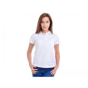 """Рубашка Поло женская """"Премиум"""" (белая, короткий рукав) Органический 100% хлопок"""