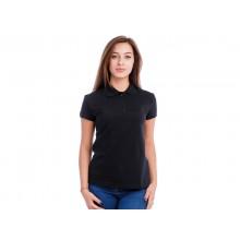 """Рубашка Поло женская """"Премиум"""" (черная, короткий рукав) Органический 100% хлопок"""