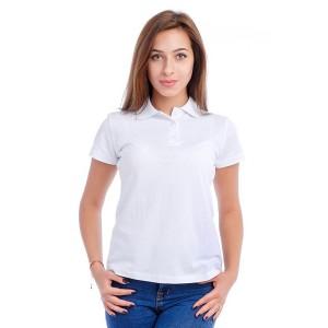 """Рубашка поло женская """"Премиум"""" (белая, короткий рукав)"""