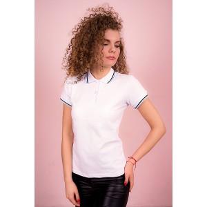 """Рубашка поло женская """"Премиум""""  Органический 100% хлопок (белая, короткий рукав)"""