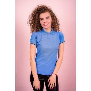 """Рубашка поло женская """"Премиум"""" (голубая, короткий рукав) Органический 100% хлопок"""