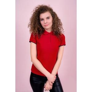 """Рубашка поло женская """"Премиум"""" (красная, короткий рукав) Органический 100% хлопок"""