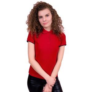 """Рубашка поло женская """"Премиум"""" (красная, короткий рукав)"""