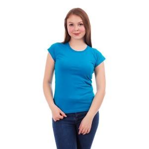 Женская промо футболка Стандарт (голубая, короткий рукав) Органический 100% хлопок