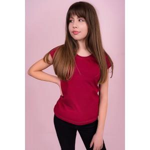 Женская промо футболка Стандарт (бордовая, короткий рукав) Органический 100% хлопок