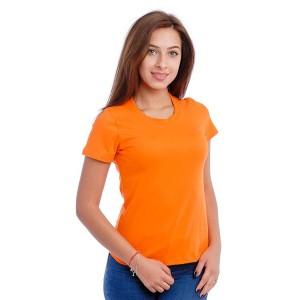 Женская промо футболка 100% хлопок (оранжевая, короткий рукав)