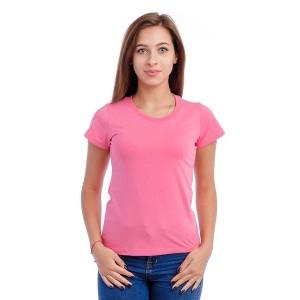 Женская промо футболка 100% хлопок (розовая, короткий рукав)