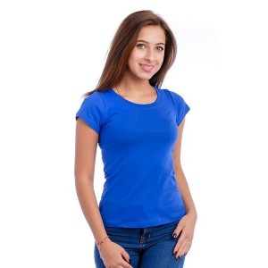Женская промо футболка 100% хлопок (ярко-синяя, короткий рукав)