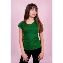 Женская промо футболка Стандарт (зеленая, короткий рукав) Органический 100% хлопок