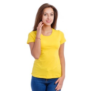 Женская промо футболка 100% хлопок (желтая, короткий рукав)
