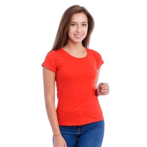 Женская промо футболка 100% хлопок (красная, короткий рукав)