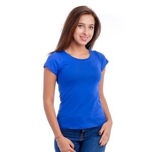 Женская промо футболка Стандарт (ярко-синяя, короткий рукав) Органический 100% хлопок
