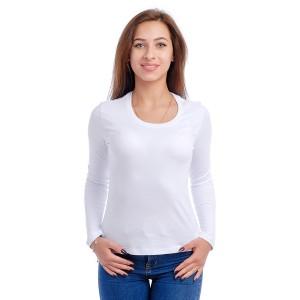 Женская промо футболка Стандарт (белая, длинный рукав) Органический 100% хлопок