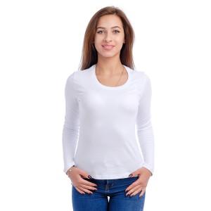 Женская промо футболка 100% хлопок (белая, длинный рукав)