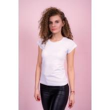 Женская промо футболка с лайкрой (белая, короткий рукав)