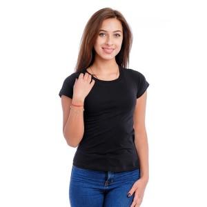 Женская промо футболка с лайкрой (черная, короткий рукав)
