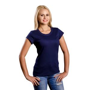 Женская промо футболка 100% хлопок (темно-синяя, короткий рукав)