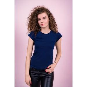 Женская промо футболка Стандарт (темно-синяя, короткий рукав) Органический 100% хлопок